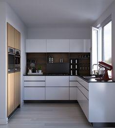 Houten achterwand in witte keuken