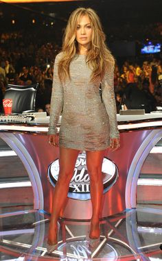 Jennifer Lopez DIVA GLAM The American Idol judge flaunts her toned gams in this shimmery minidress.