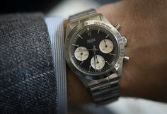 Historical Perspectives: The Very First Rolex Daytona, Explained (Or, What Is A Double-Swiss Underline Daytona?) - HODINKEE Watches For Men Unique, Armani Watches For Men, Wooden Watches For Men, Rolex Watches For Men, Stylish Watches, Cool Watches, Men's Watches, Sport Watches, Luxury Watches