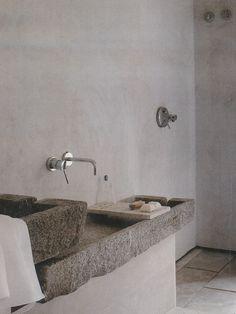 rustic basin + minimalist tapware