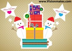 Christmas present boxes card illustration with Snowman illustrations and Merry Christmas stars. Premium Christmas vector design in Adobe Illustrator