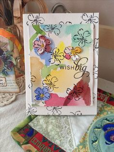 """Watercolor  birthday card using """"heartfelt thanks"""" stamp set by Stamping Up.  Sentiment by Papertrey Ink."""
