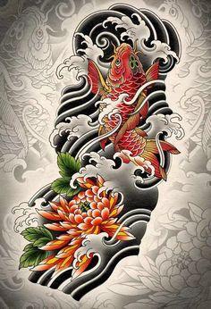 Japanese Water Tattoo, Japanese Tattoo Art, Japanese Tattoo Designs, Japanese Sleeve Tattoos, Japanese Art, Koi Tattoo Sleeve, Cat Tattoo, Half Sleeve Tattoos Sketches, Koi Dragon Tattoo