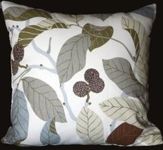 """Amazon.com: Two (A Pair) Canvas Cotton Cushion Pillow Covers 19""""-20"""" - Grey, Beige, Brown Leaves on White: Home & Kitchen"""