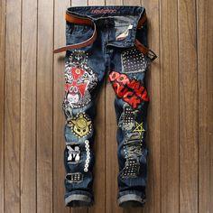 fashion mens brand jeans biker distressed denim pants for man streetwear ripped men vaqueros hombre cotton casual jean pants Ripped Jeans Men, Denim Pants Mens, Biker Jeans, Patched Jeans, Motorcycle Jeans, Men's Denim, Men's Jeans, Distressed Denim, Fashion Pants