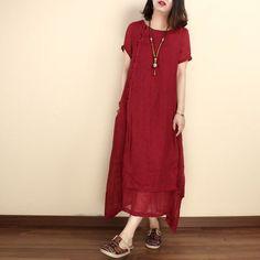 Women summer linen short sleeve gown