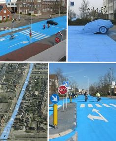 The town of Drachten in the Netherlands got an extreme makeover in 2008 when artist Henk Hofstra painted a kilometer-long strip of the main road a pale blue color.