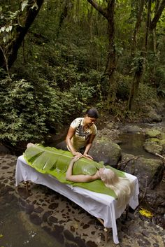 Banana Leaf Body Wrap - Koro Sun Resort Fiji. This was a wonderful treatment, the neighboring stream and just adds to the level of relaxation.