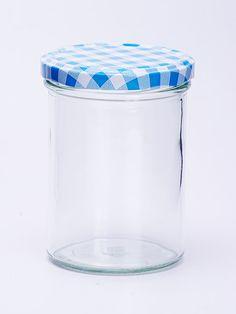 Sturzglas 440ml mit blau-kariertem Deckel 82mm Ideal für Marmelade, Gelee, Obst etc. Höhe: 114,5mm; Durchmesser: 77,3mm Sterilisationsfester Deckel bis 120 Grad Deckel nicht für ölhaltige Füllgüter geeignet Qualitätsglas aus Deutschland