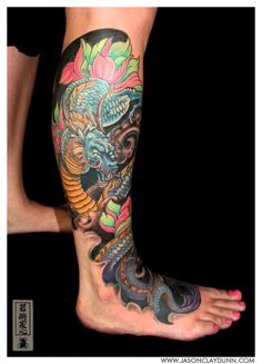 Asian style multicolored evil dragon tattoo on ankle - Tattoos photos Dragon Tattoo Calf, Asian Dragon Tattoo, Calf Tattoo, Japanese Leg Tattoo, Japanese Legs, Japanese Dragon, Leg Sleeve Tattoo, Sleeve Tattoos For Women, Trendy Tattoos
