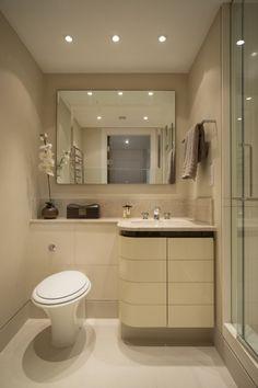 ideen kleine bäder beige wandfarbe eck-waschtisch begehbare dusche