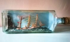 Fabulous Large Ship in a Large Bottle with Diorama  by RAVERETRO