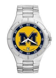Michigan Wolverines LogoArt Pro II Stainless Steel Mens NCAA Watch Logo Art. $94.95. Packaged in an attractive black tin with flocked insert.. Two-year limited warranty.. Powered by a precision Miyota three hand quartz movement with date function.. Water resistant.. Save 21% Off!
