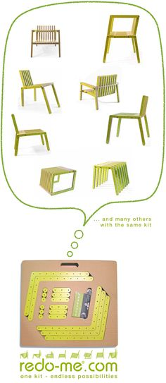 Why have a single piece of furniture when you can have many with the same parts? Redo-me is a system in which each kit allows a wide range of mounting possibilities.