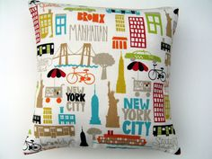New York City decorative pillow by CottageExpressions on Etsy, $30.00