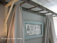 An Old Ladder Re-purposed as a Bed Canopy.note to self: use white tulle for girls canopy! Backyard Canopy, Canopy Outdoor, Canopy Tent, Canopies, Bed Canopy Diy, Hotel Canopy, Window Canopy, Wooden Canopy, Fabric Canopy