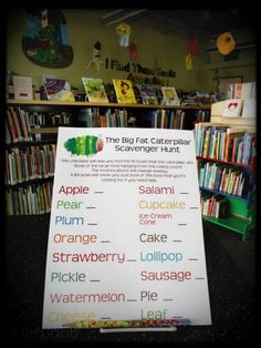The Very Hungry Caterpillar decor at the Childrens Library. A passive scavenger passive activities- library Elementary School Library, Class Library, Library Lessons, Children's Library, Library Ideas, Library Games, Library Skills, Library Scavenger Hunts, The Very Hungry Caterpillar Activities