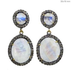 Rainbow Moonstone Diamond Pave 14k Gold Sterling Silver Dangle Earrings Jewelry #raj_jewels