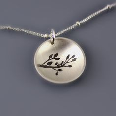 Sterling Silver Bird on Branch Necklace by Lisa Hopkins Design