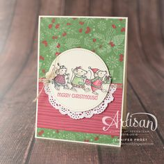 Merry Mice meets This Christmas Designer papers and our newly released Stitched Shapes Framelits Dies - Jennifer Frost