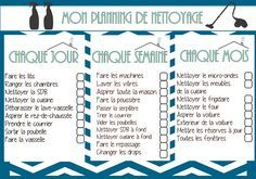Cleaning List / Cleaning Schedule / Planning de Nettoyage . www.tryintomakeahome.blogspot.com