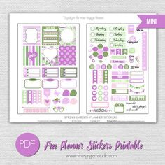 Free Printable Mini Happy Planner Spring Garden Planner Stickers from Vintage Glam Studio