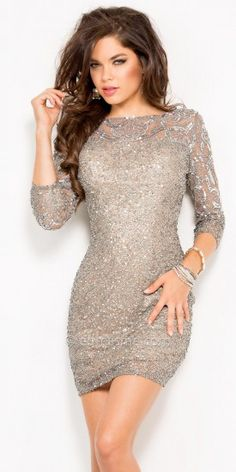 Patterned Sleeve Sequined Cuff Cocktail Dress by Scala  #edressme