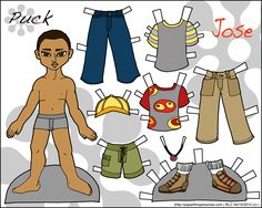One of my few male paper dolls. This is Jose and his simple casual wardrobe.