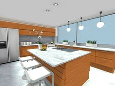 Think like a kitchen designer, with these 4 expert kitchen design tips. Hgtv Kitchens, Luxury Kitchens, Kitchen Lighting Design, Interior Design Kitchen, Grey Kitchen Designs, Kitchen Cabinets And Countertops, Kitchen Trends, Kitchen Ideas, Kitchen Island With Seating