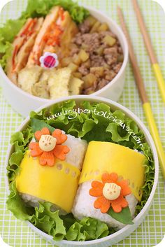 Simple Bento - cheese lace around lunch meat rolls?
