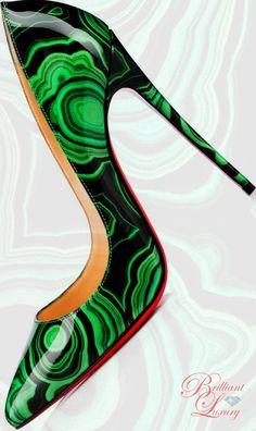 Brilliant Luxury by Emmy DE * Christian Louboutin Pigalle Follies Patent Malachite Pumps