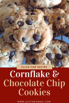 Chocolate Chip Cornflake Cookies - Just a Mum - These cornflake cookies are delicious and easy. Made with simple ingredients, kids will love them, Perfect for lunch boxes. Cornflake Cookies Recipe, Cornflake Recipes, Cereal Recipes, Cookie Recipes, Dessert Recipes, Baking Recipes, Baking Blogs, Fall Desserts, Baking Ideas