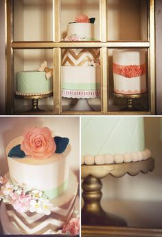 gold and white chevron bottom layer, white top layer(navy ribbon around it) with a coral flower on top
