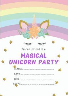 Unicorn Birthday Invitations – Free Printable * Party with Unicorns – Invitation Card Ideas Birthday Party Invitations Free, Rainbow Invitations, Free Birthday Invitation Templates, Unicorn Birthday Invitations, Unicorn Birthday Parties, 19 Birthday, Printable Party, Free Printable, Belle Cake