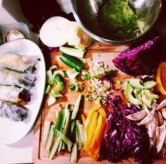 Home-made summer rolls with chicken, avocado, cabbage, peppers & cucumber wrapped in rice paper. Side of quinoa fried rice with a peanut dipping sauce.
