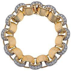 Cartier Retro Diamond Gold Ribbon Bracelet