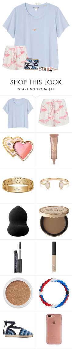"""let's flamingle✨"" by hopemarlee ❤ liked on Polyvore featuring Monki, Boohoo, Too Faced Cosmetics, tarte, Gucci, Kendra Scott, blacklUp, Urban Decay, NARS Cosmetics and Bare Escentuals"