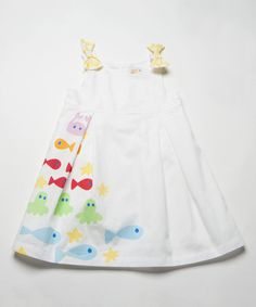 Look what I found on #zulily! White & Yellow Fish Bow Babydoll Dress - Infant, Toddler & Girls by Lourdes #zulilyfinds