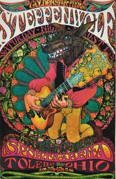 psychedelic rock posters This poster is visually enticing and has a great image on the front. Rock Posters, Band Posters, Hippie Posters, Theatre Posters, Movie Posters, Psychedelic Art, Kunst Poster, Poster Art, Gig Poster