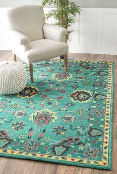 The color is striking and a true statement for any home! #RugsUSA