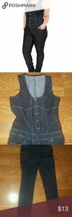 Jeans romper :) Boom Boom Jeans romper used only one time . LARGE size. BELT NOT INCLUDED . boom boom jeans Jeans Overalls