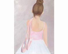 Ballerina Print, Oil Painting, Original Art, Ballet Shoes Painting, Dance Painting, Ballet Dancer Print, Barre Painting, Dance Art