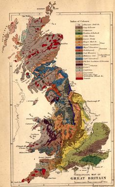 "Map from ""The Physical Geology and Geography of Great Britain: A Manual of British Geology"" (1878) by A.C. Ramsay, LL.D. F.R.S. via geology.19thcenturyscience"