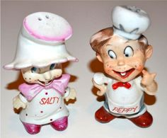 salty and peppy vintage  salt and pepper shakers