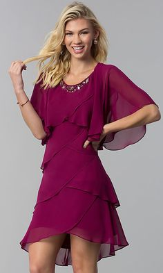 Mother-of-the-Bride Short Party Dress with Capelet Cocktail Bridesmaid Dresses, Cocktail Dresses With Sleeves, V Neck Cocktail Dress, Mother Of Groom Dresses, Mothers Dresses, Bride Party Dress, Party Dresses, Bride Dresses, Wedding Dresses