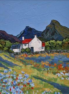 David BARNES artist, paintings and art at the Red Rag British Art Gallery Irish Landscape, Abstract Landscape, Landscape Paintings, Cottage Art, Coastal Art, Naive Art, Painting Inspiration, Watercolor Art, Art Gallery