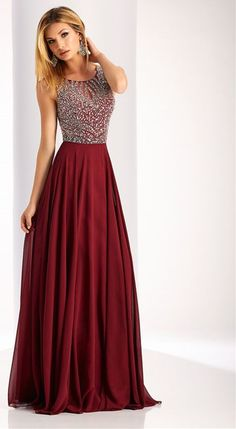 e7bdc68866b 2017 Sexy Open Back Scoop Beaded Bodice Chiffon A Line Prom Dresses  Burgundy Prom Dresses Long