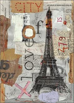 Eiffel Paris Painting Collage ART PRINT Hand Signed by by rcolo, $11.00: