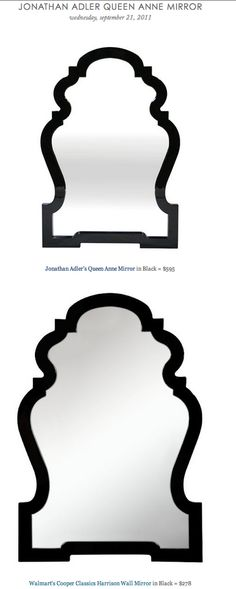 COPY CAT CHIC FIND: Jonathan Adler's Queen Anne Mirror vs. Walmart's Cooper Classics Harrison Wall Mirror in Black