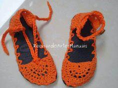 ... Recriando Artes Manuais ...: Sapatos de crochê - 2 em 1